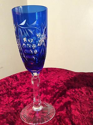 Chez Bohemian Cut To Clear Crystal Blue Glass Champagne Flute