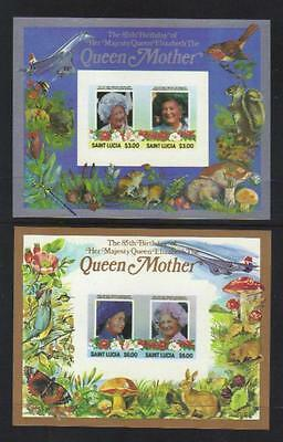 St Lucia 1985 Life & Time Of Queen Mother Imperf S/s