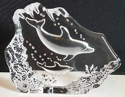VINTAGE CUT CARVED GLASS Frosted & Clear DOLPHIN Paperweight ornament decor GIFT