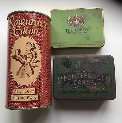 3 Empty Vintage Collectable Tins- Cocoa/Tobacco/Liquorice