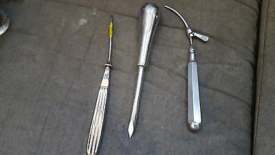 Reduced 3 Antique Vintage Surgical Instruments Trocars A S Aloe