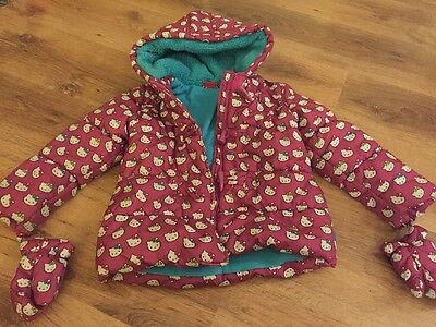 Girls TU Hello Kitty Winter Coat With Mittens Age 4-5 Years