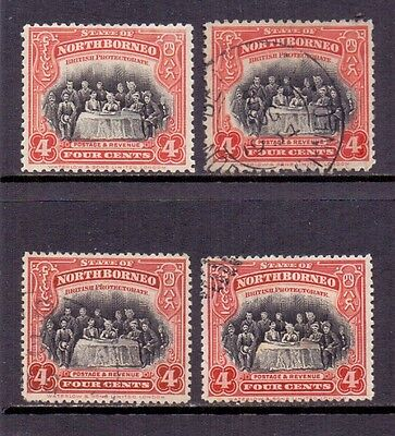 North Borneo. 4c Scarlet & black. Mint and used. 1925/8