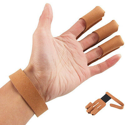 Archery 3 Finger Guard Protective Glove Longbow Cow Leather Finger Tab Protector