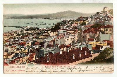 Antique UDB Gibraltar Bird's Eye View of Town. Pmkd 1907 on KEVII 1d purple/red