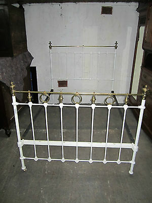 Victorian Cast Iron/ Brass (White & Gold) Bed Frame