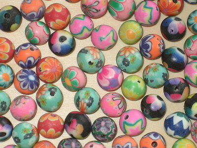 100 Mixed POLYMER FIMO CLAY BEADS * 8 mm