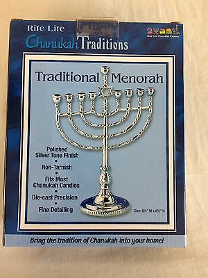NEW Chanukah Traditions Traditional Menorah Polished Silver Tone