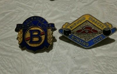 2x VINTAGE BURWOOD  BOWLING CLUB BADGES **RARE**