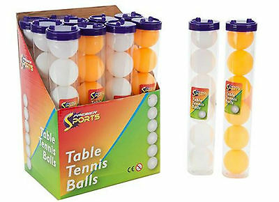 1 X 12 Ping Pong / Table Tennis Balls - White / Orange (Two Tubes Of 6 Balls)