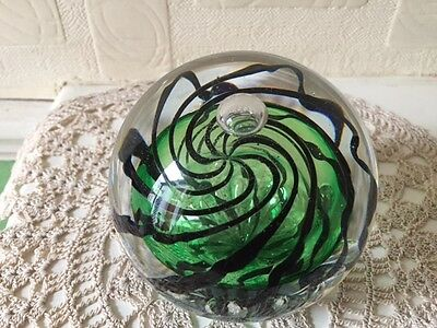 Langham Paperweight Signed with original Label English Art Glass