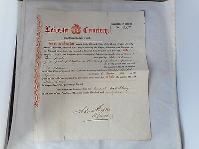 1872 LEICESTER CEMETERY BURIAL PLOT PURCHASE CERTIFICATE(28x33cms)
