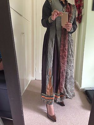 pakistani indian shalwar salwar kameez suit size small gray
