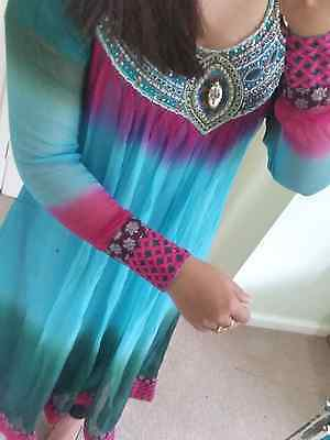 pakistani indian shalwar salwar kameez suit eid party wear size small blue