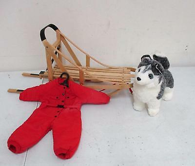 Pleasant Company American Girl Doll Wood Sleigh, Husky Doll & Winter Snow Suit