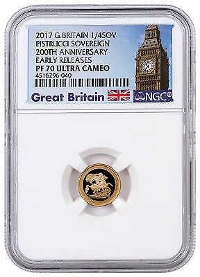 2017 Great Britain Gold Quarter Sovereign Pistrucci 200th NGC PF70 UCER SKU44537
