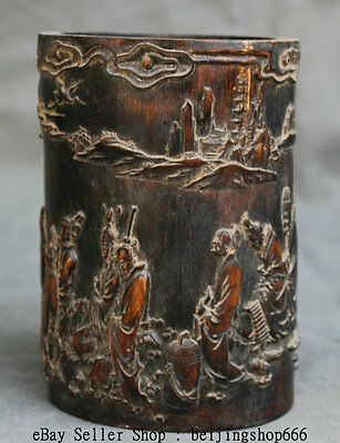 """6"""" Old Chinese Wood Bamboo Palace Carving Official Ministe Brush Pot Pencil Vase"""