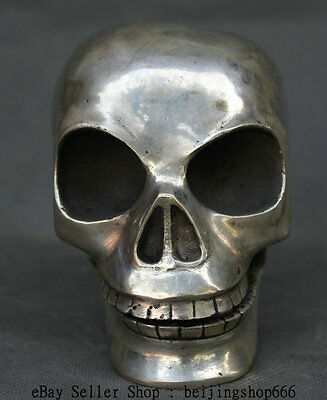 "5"" China Art Silver Skull Head Death Horror Human Smoke Skeletons Tooth Statue"
