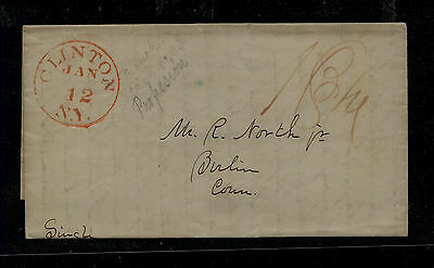Us  Clinton, NY  stampless  folded letter        KL0314