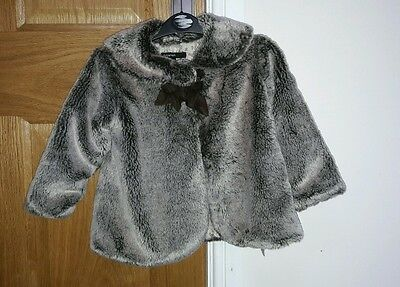Girls faux fur jacket marks and Spencer autograph brown mink 1 to 2 years