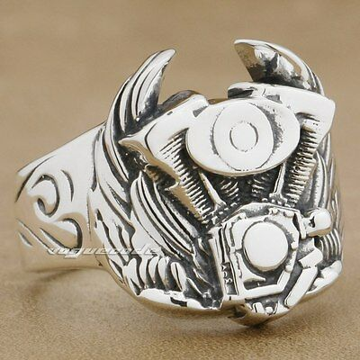 925 Sterling Silver Wing Motorcycle Engine Mens Biker Ring 8S001B UK Size X½