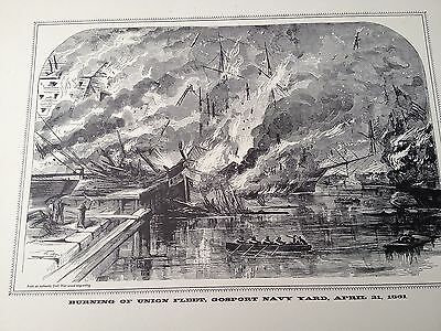 Vtg 1960 Print Burning Of Union Fleet Gosport Navy Yard 1861 Civil War Engraving