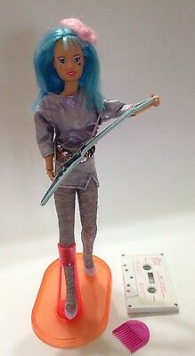 Vintage Jem AJA of The Holograms Doll w/ Hairpiece Guitar Stand Cassette + More
