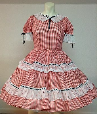 Red Gingham Check Vintage Square Dance Dress Sold By Eva's Petticoats