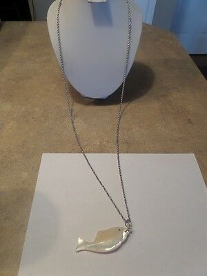 Large Vintage Mother of Pearl Fish Pendant on Trifari Chain