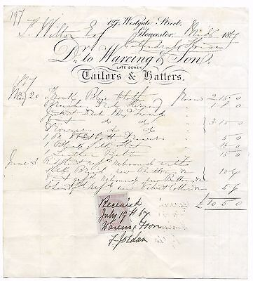 RECEIPTS GLOUCESTER 1867 (2) - TAILORS & HATTERS A/Cs WAREING & SON,