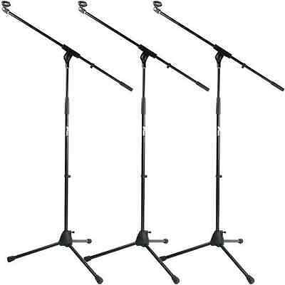 3 Pack of Tiger Professional Black Boom Microphone Stands