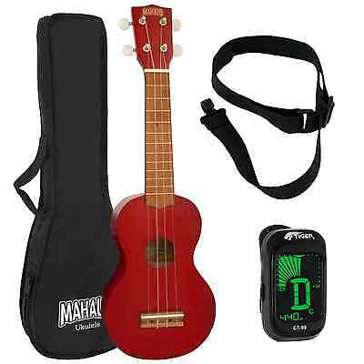 Mahalo 2500 Kahiko Series in Red Soprano Ukulele with Digital Tuner
