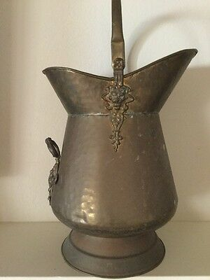 "Antique Lg Brass Coal Bucket Fireplace Storage Bin Scuttle Ornate 16"" X 12"" LION"