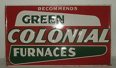 Rare Green Colonial Furnaces Embossed Metal Advertising Tin Sign
