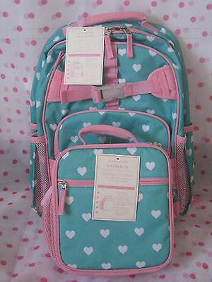 NEW Pottery Barn Kids  AQUA PINK HEARTS LARGE BACKPACK  +  LUNCH BAG  LAST ONE!