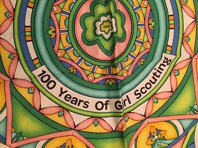 """Girl Scout Scarf 100 Years 22"""" x 23"""" Silky 100% Cotton Green Blue Pink Yellow"""