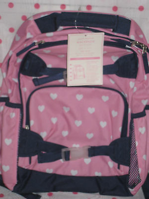 NEW Pottery Barn Kids LARGE Navy Pink Heart Backpack + Classic Lunch Bag!
