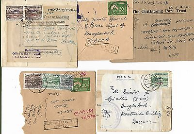 BANGLA DESH 10 COVERS WITH OVERPRINTED PAKISTAN STAMPS - EARLY 1970s