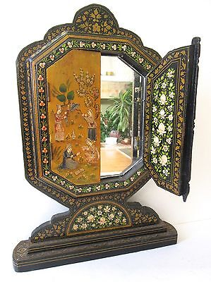 Vintage Persian Mirror w doors Lacquered Wood Hand Painted Ornate Tabletop 17x10