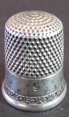 Vintage ca. 1900 Sterling Silver Thimble Simons Brothers Bros sz 9 Shield Mark