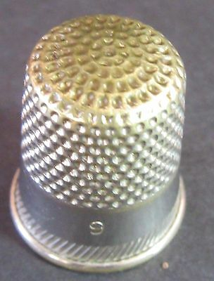 Vintage Sterling Silver (?) Thimble With Gold wash or plate top (poss 24K) sz 9