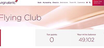 49,102 Virgin Atlantic Airmiles - Use on Singapore Airlines,Delta, Hotels, Train