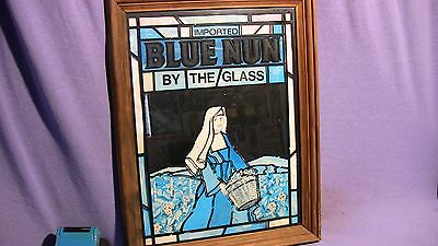 Blue Nun Mirrored Framed Sign Vintage