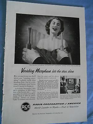 Vintage Ad c1950s RCA Microphone National Geographic Print Ad