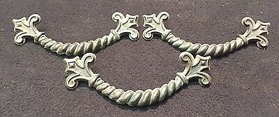 #71 3 Vtg Ornate Victorian Solid Brass Fleur De Lis Cabinet Drawer Handle Pull