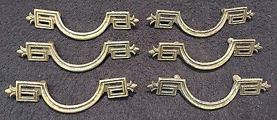 #60 6 Vtg Victorian Eastlake Brass Cabinet Drawer Dresser Handle Pulls Lot 4.5""