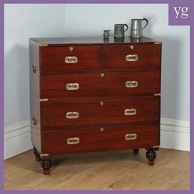 Antique Victorian Colonial Mahogany & Brass Military Campaign Chest of Drawers