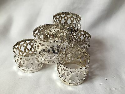 SILVER PLATED NAPKIN RINGS SET OF 6 -excellent Condition