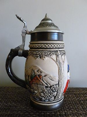 German beer stein covered Armin Bay hand painted
