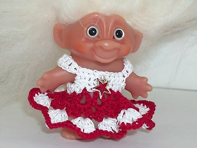 Troll Clothes for Vintage DAM Red & White Christmas Dress PaulineAnneCrochet